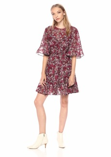 findersKEEPERS Women's Flutter Flounce Shortsleeve Floral Short Dress with Belt fig L