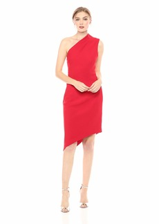 findersKEEPERS Women's Goodbye One Shoulder Asymmetric Crepe Sheath Cocktail Dress red L