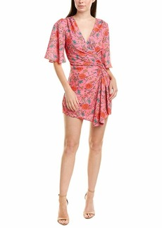 findersKEEPERS Women's Hana Short Sleeve Faux Wrap Gathered Mini Dress  XS