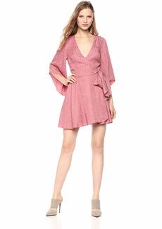 findersKEEPERS Women's Heat Wave  Anima Print V Neck Long Sleeve Mini Dress L