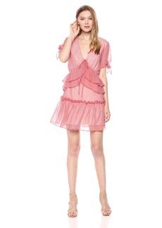 findersKEEPERS Women's Horizons Ruffle Detail Short TIE Sleeve Mini Dress red Gingham XL