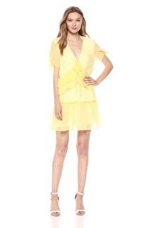 findersKEEPERS Women's Horizons Ruffle Detail Short TIE Sleeve Mini Dress  S
