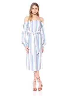 findersKEEPERS Women's Instinct Off Shoulder Long Sleeve Tie Belt Midi Dress  S