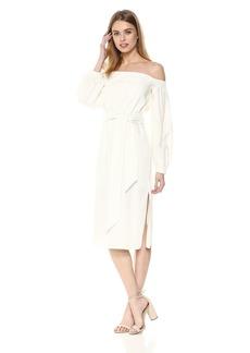 findersKEEPERS Women's Instinct Off Shoulder Long Sleeve TIE Belt MIDI Dress  XL