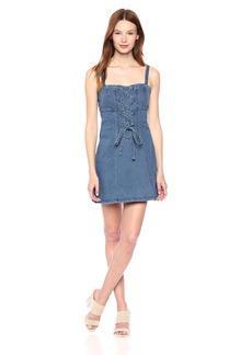 findersKEEPERS Women's Inverse LACE UP Sleeveless Denim Mini Dress  L