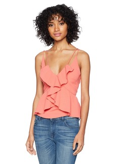 findersKEEPERS Women's Kindred Double Strap Sleeveless Ruffle Front CAMI TOP  XL
