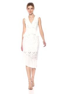 findersKEEPERS Women's Kindred Sleeveless V Neck Asymmetric Hem Ruffle MIDI Dress  XS