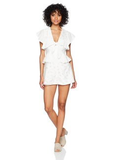 findersKEEPERS Women's Kindred Tie Front V Neck Ruffle Short Sleeve Romper  XL