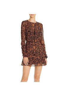 findersKEEPERS Women's Lana Long Sleeve Shirred Skin Mini Dress tan Snake s