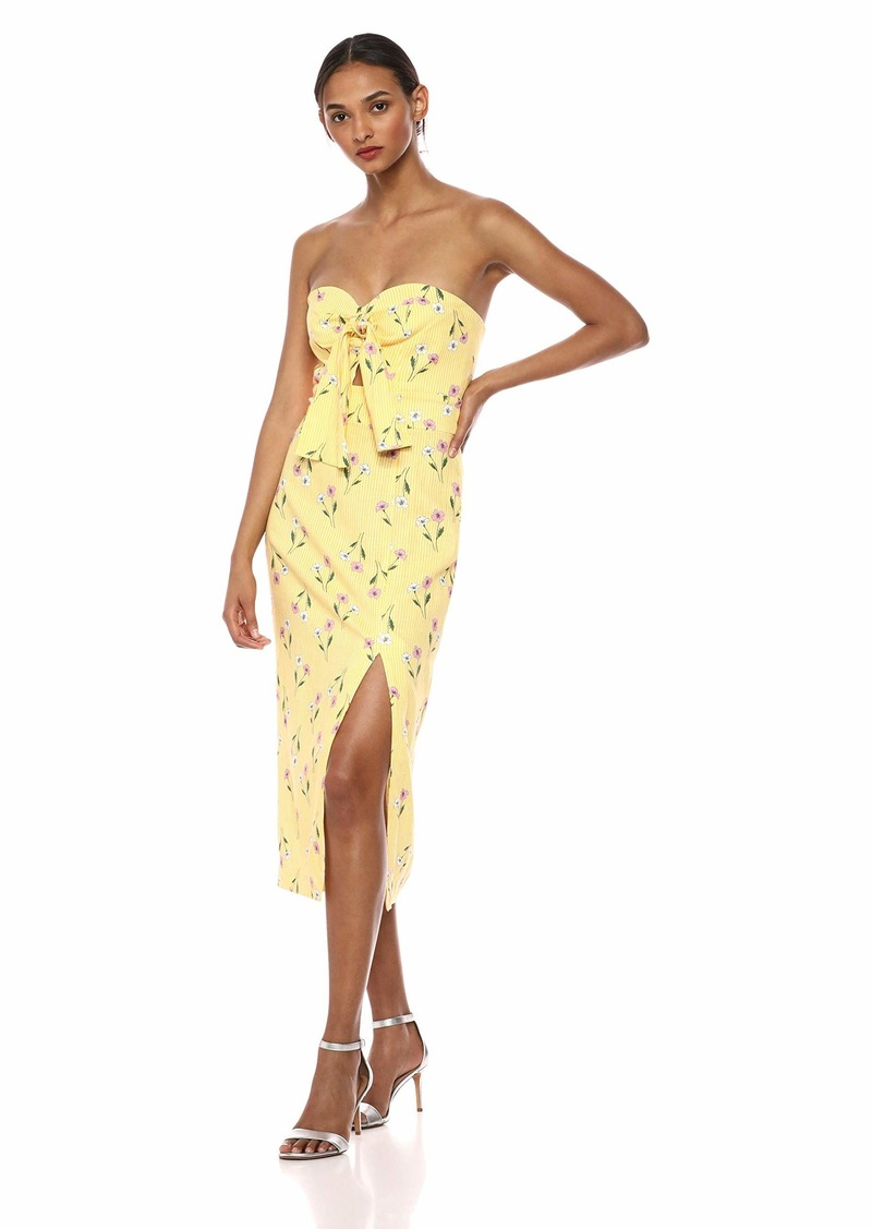 findersKEEPERS Women's Limoncello Strapless Sweetheart TIE Front MIDI Sheath Dress  L