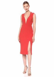 findersKEEPERS Women's Lines Sleeveless Plunging Stretch Midi Sheath Dress  l