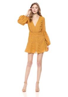 findersKEEPERS Women's MAELLA V Neck Long Sleeve Mini Dress  XL