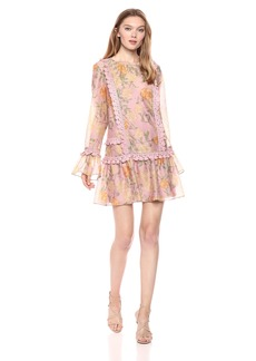 findersKEEPERS Women's Meadows Long Sleeve LACE Detailed Mini Dress  L