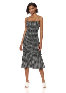 findersKEEPERS Women's Merci Checkered Sleeveless Shirred Midi Dress  L