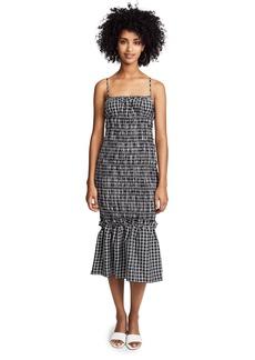 findersKEEPERS Women's Merci Checkered Sleeveless Shirred Midi Dress  M