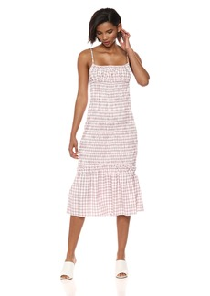 findersKEEPERS Women's Merci Checkered Sleeveless Shirred Midi Dress  L