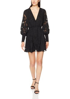 findersKEEPERS Women's Midnight Lace Long Sleeve V Neck Mini Dress  L