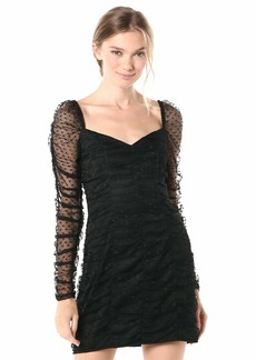 findersKEEPERS Women's Palermo Sheer Ruched Bodycon Short Mini Dress  l