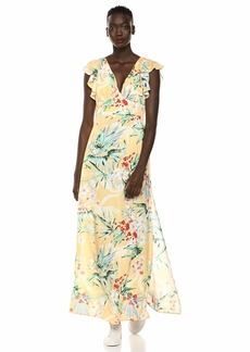 findersKEEPERS Women's Paradise Tropical Floral Long Maxi Dress with Slit Lemon s