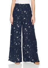 findersKEEPERS Women's Patience Flowy Wide Leg Star Print Pant Navy m