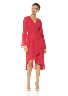 findersKEEPERS Women's Rio V Neck Long Bell Sleeve Wrap Midi Dress with Side Tie  S