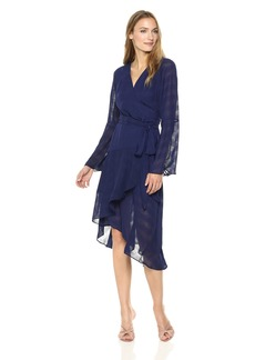 findersKEEPERS Women's Rio V Neck Long Bell Sleeve WRAP MIDI Dress with Side TIE  XL