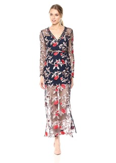 findersKEEPERS Women's Rituals Long Sleeve Embroidered Floral Sheer Maxi Dress  XL