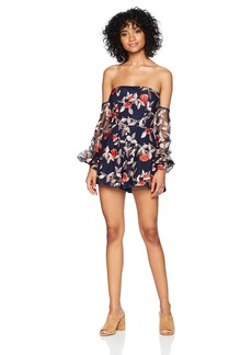 findersKEEPERS Women's Rituals Long Sleeve Off Shoulder Floral Embroidered Romper  M