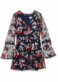 findersKEEPERS Women's Rituals V Neck Embroidered Mini Flare Dress with Long Sleeve  L