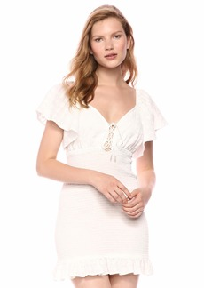 findersKEEPERS Women's Riviera Cap Sleeve Lace-up Ruffle Trim Short Dress  l