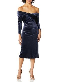 findersKEEPERS Women's Romana Velvet Fitted MIDI Sheath Dress  M