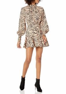 findersKEEPERS Women's Romy Long Sleeve Animal Print Mini Dress tan Tiger m