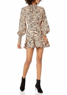 findersKEEPERS Women's Romy Long Sleeve Animal Print Mini Dress tan Tiger s