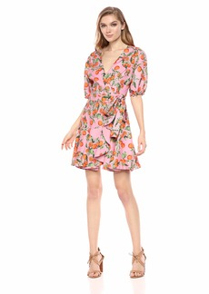 findersKEEPERS Women's Sleeve Short WRAP Fashion Dress Pink Clementine-ARANCIATA s