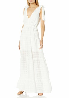 findersKEEPERS Women's Sleeveless V-Neck Lucietti Tiered Illusion Maxi Dress  M