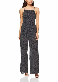 findersKEEPERS Women's Solar Sleeveless Lace Up Open Back Jumpsuit Black Polka dot S