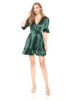 findersKEEPERS Women's Songbird Short Sleeve Mini Wrap Dress with Ruffle Detail  S
