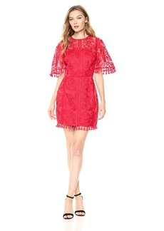 findersKEEPERS Women's Spectrum Short Sleeve Tassel Detail Mini Dress red M