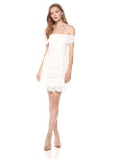 findersKEEPERS Women's Sundays Eyelet Ruffle Off The Shoulder Mini Dress  M