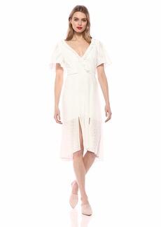 findersKEEPERS Women's Sundays Short Sleeve LACE Ruffle Aline MIDI Dress  S