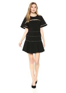 findersKEEPERS Women's Talisman Short Sleeve Open Back Flare Mini Dress  M