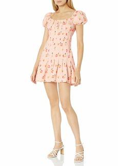 findersKEEPERS Women's Tutti Frutti Short Puff Sleeve Drop Waist Midi Dress  S