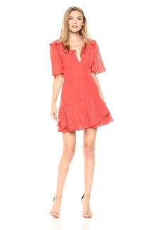 findersKEEPERS Women's Twilight Short Sleeve Ruffle Detail Mini Dress  L