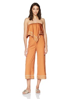 findersKEEPERS Women's Vanish Crop Strapless Jumpsuit tan Bandana L