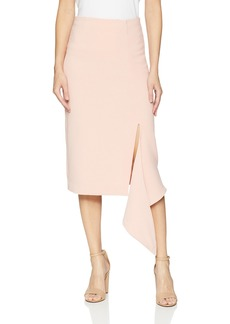 findersKEEPERS Women's Vice Midi Skirt with Slit and Cascading Ruffle  M