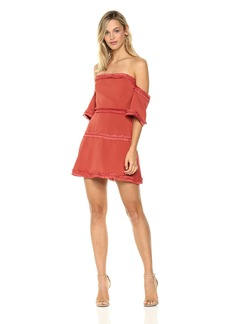 findersKEEPERS Women's Visions Off The Shoulder Fringe Mini Dress