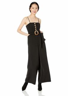 findersKEEPERS Women's Westway Wide Leg Sleeveless Belted Jumpsuit  L