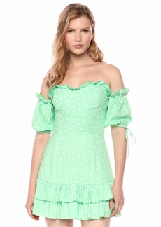 findersKEEPERS Women's Wildflower Off The Shoulder Fit & Flare Ruffle Mini Dress  m