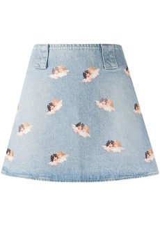 Fiorucci angels print denim skirt