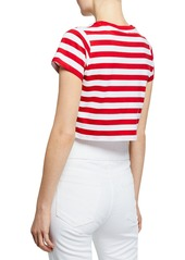 Fiorucci Striped Logo-Graphic Short-Sleeve Cropped Tee